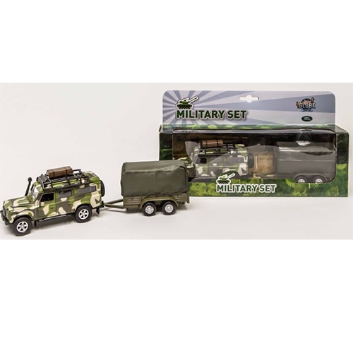 Die-cast Landrover military defender; Pull Back 52.0027