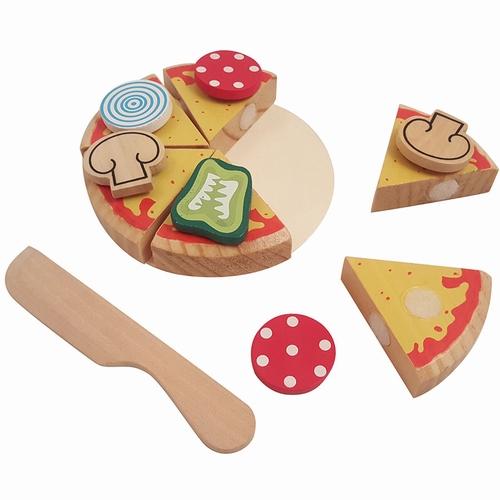 Snij pizza puntjes; met mes