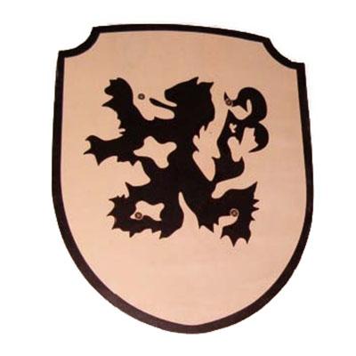 Schild leeuw zwart; stoffen handvat
