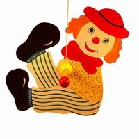 Draai clown groot gele jas