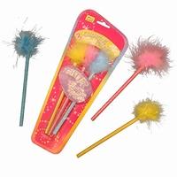 S/3 Grijze potloden; Glitter fluffy