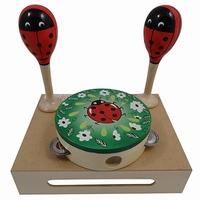 Muziekset lieveheersbeest sambabal en tamboerijn in kist