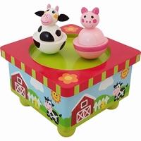 Muziekdoos boerderij dansende koe en varken (gv)