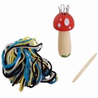 Punnikklosje paddestoel; inclusief wol en houten punniknaald