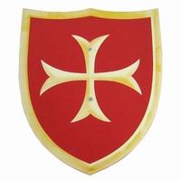 Schild rood met kruis; houten handvat